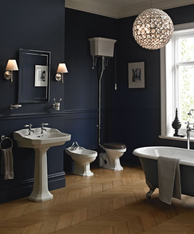 This strong, bold suite takes its style cues from 1920's Art Deco with its sculptured angularity exuding Edwardian grandeur. Priced from £4,155  www.heritagebathrooms.com  ** would love to have an all black bathroom with white appliances with right lighting