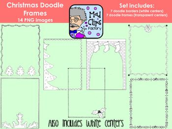 A set of 14 hand-drawn Christmas doodle frames/borders.  This set includes 7 borders with a white center and 7 frames with a transparent center with a Christmas theme to add the perfect holiday touch to your Christmas-themed projects.  Each frame/border has been saved as a high quality 300 DPI transparent .PNG file.No extended commercial license is required, however these graphics MUST be used in collaboration with another project. $2.00