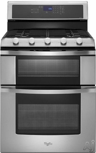 """Whirlpool WGG755S0BS 30"""" Freestanding Gas Double Oven Range with 5 Sealed Burners, 3.9 cu. ft. Lower Oven Capacity, Delay Bake, Self-Cleanin..."""