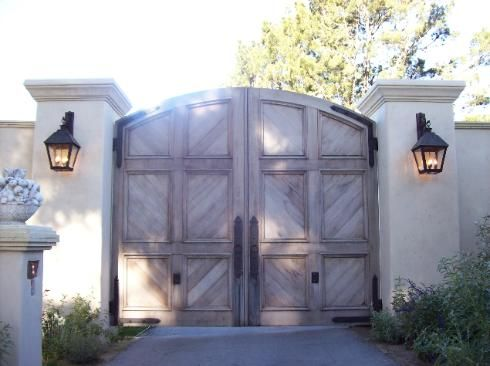 9899 Iron Wood Gates at www.ccoigateandfence.com Driveway Gate, Custom Design, Automatic Gate, Electric Gate, Wrought Iron, Wood