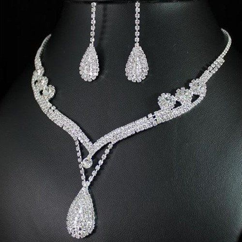 Elegant Pear Drop Rhinestone Necklace and Earring Set – UCHARMME.co.nz