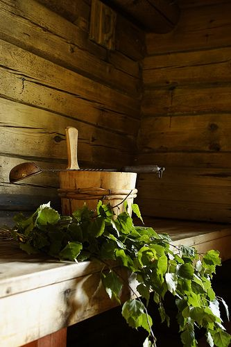 Water Bucket, ladle and Vihta / Vasta in sauna. Vihta or Vasta is in english…