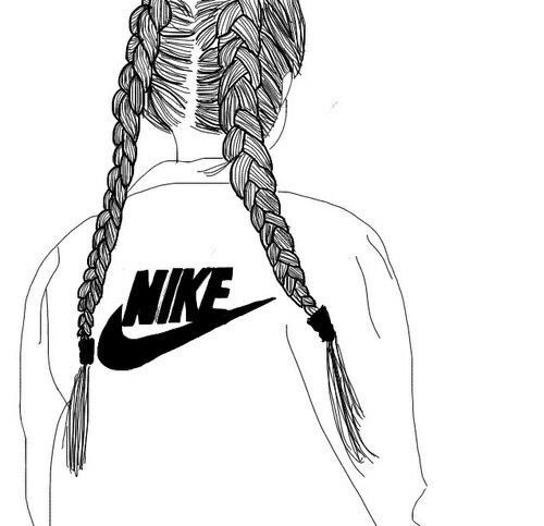 Black outline of a girl wearing a Nike jumper xo