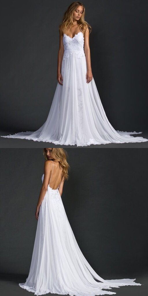 Sensual Grace Loves Lace The Hollie beachbohemian wedding dress with spaghetti straps layered translucent skirt and delicate train.