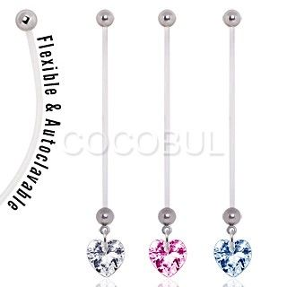 BioFlex Pregnancy Navel Ring with Heart Dangle   #heart #love #belly #pregnancy #preggers #mommy #bioflex #navelpiercing #expecting #piercing #bodyjewelry