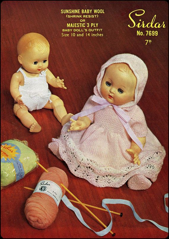 "VINTAGE KNITTING PATTERN 10-12/"" /& 14-16/"" DOLLS CLOTHES 6 ITEMS TO KNIT"