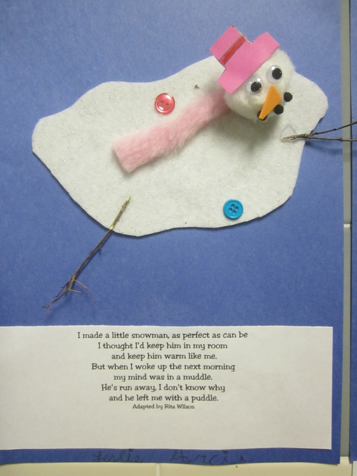 Melting snowman with Rita Wilson Poem. Students created a story about Snowmen playing in the student's room at night