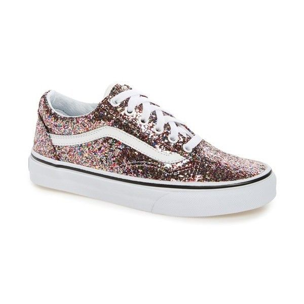 Women's Vans Old Skool Glitter Sneaker ($65) ❤ liked on Polyvore featuring shoes, sneakers, vintage shoes, vans trainers, leather skate shoes, vans shoes and striped shoes