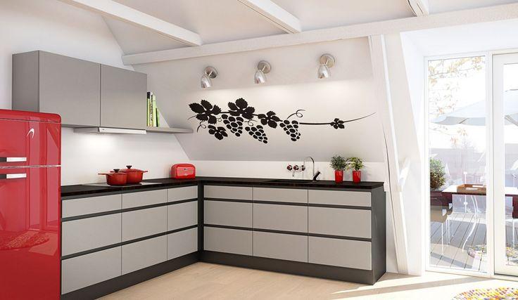 Nordsjøkjøkken - E45 - grå malt med sort ramme