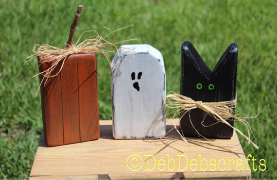 Rustic Halloween blocks Halloween decor black cat Wooden ghost