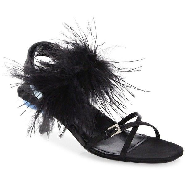 Prada Feather Sandals (50,195 PHP) ❤ liked on Polyvore featuring shoes, sandals, black slingback sandals, black slingback shoes, black sandals, kitten heel slingbacks and prada shoes