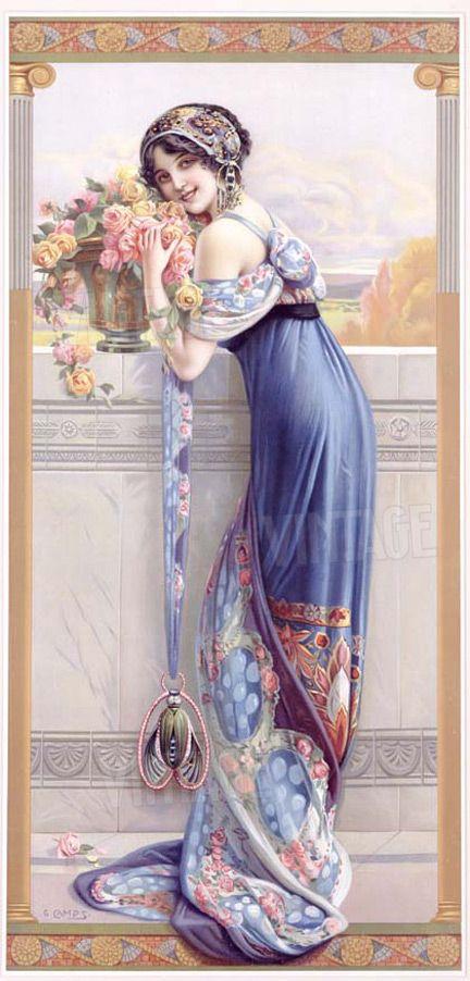 """Art Nouveau ~ Gasper Camps """"Balcony Bouquet""""                                                                                                                                                                                 Más"""