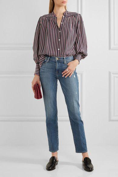 FRAME - Distressed High-rise Straight-leg Jeans - Mid denim