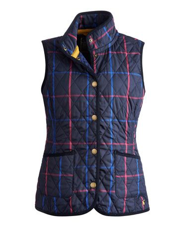 Joules null Light quilted gilet, Navy Check.                     In traditional checks inspired by leaf-crunching shades and classic textures, this light quilted gilet is perfect if you're in pursuit of a country-inspired look (not to mention warmth and cosiness). Finished with cord trims and authentic brass poppers for that true country feel.