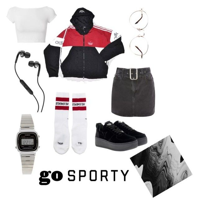 """""""Untitled #174"""" by ezerys on Polyvore featuring Topshop, adidas, Vetements, Windsor Smith, Helmut Lang, Skullcandy and Casio"""