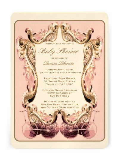 This sweet girly design is the perfect way to set off your Victorian Baby Shower.If you are interested in having this handmade by the designer, with additional info cards and pearl embellishments please contact Conecepts. I create theses invitations by hand for $8+, or you can buy this design and customize and print it yourself for around $5 at http://www.zazzle.com/victorian_baby_shower_invitation-161370827383136729