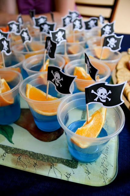 pirate party ideasJello Shots, Orange Slices, Birthday Parties, Food, Blue Jello, Pirates Parties, Parties Ideas, Kids, Pirates Theme