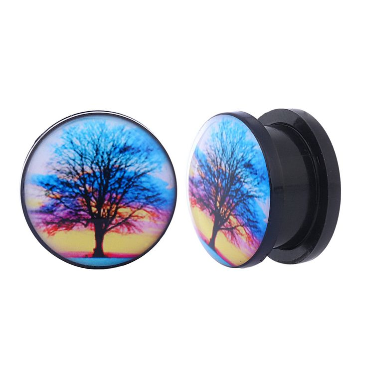 2PCS Acrylic Ear expanders Screw Fit Ear Plugs Tunnels World Trees 6mm 8mm 10mm 12mm 14mm 16mm Flesh Tunnels Ear Stretcher Rings