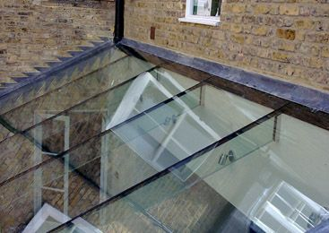 Glazed Rooflight With Glass Beam Supports.