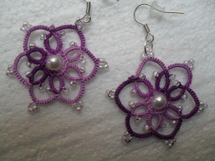 Boucles d'oreille violet en dentelle de frivolite ,bijoux dentelle frivolite