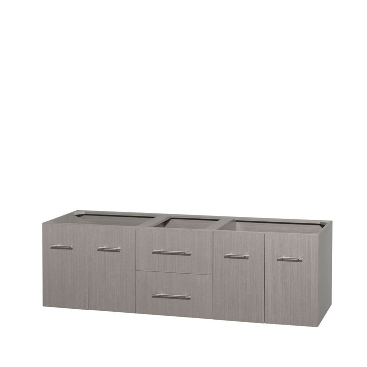 Wyndham Collection Centra 72 inch Double Bathroom Vanity Mirror not Included / Countertop and Sinks not Included / Gray Oak
