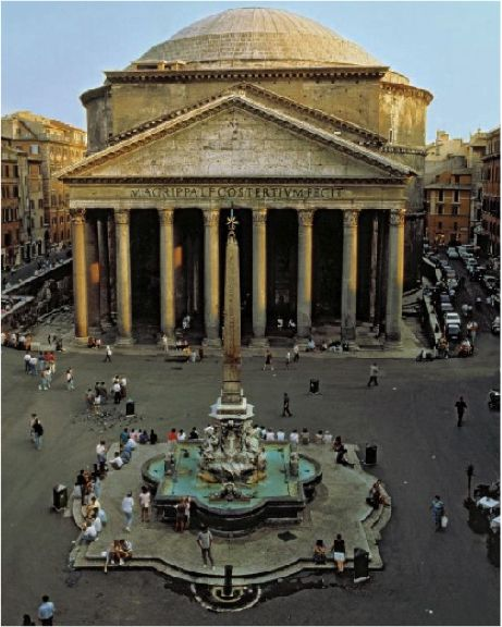 THE PANTHEON, ROME, ITALY. From it's windowless exterior, is still standing after almost 1900 years & has the most perfect proportions of any building on earth.
