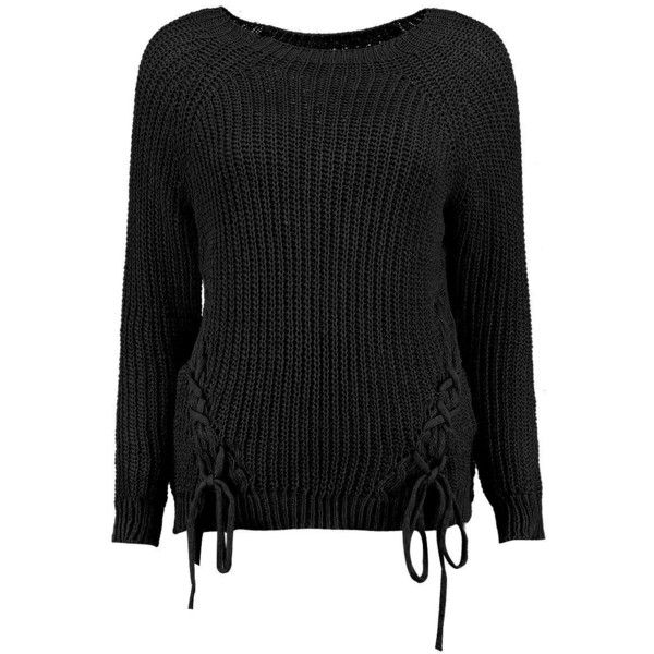 Boohoo Karina Lace Up Detail Jumper (95 BRL) ❤ liked on Polyvore featuring tops, sweaters, marled sweater, sequin top, sequin jumper, knit sweater and party jumpers