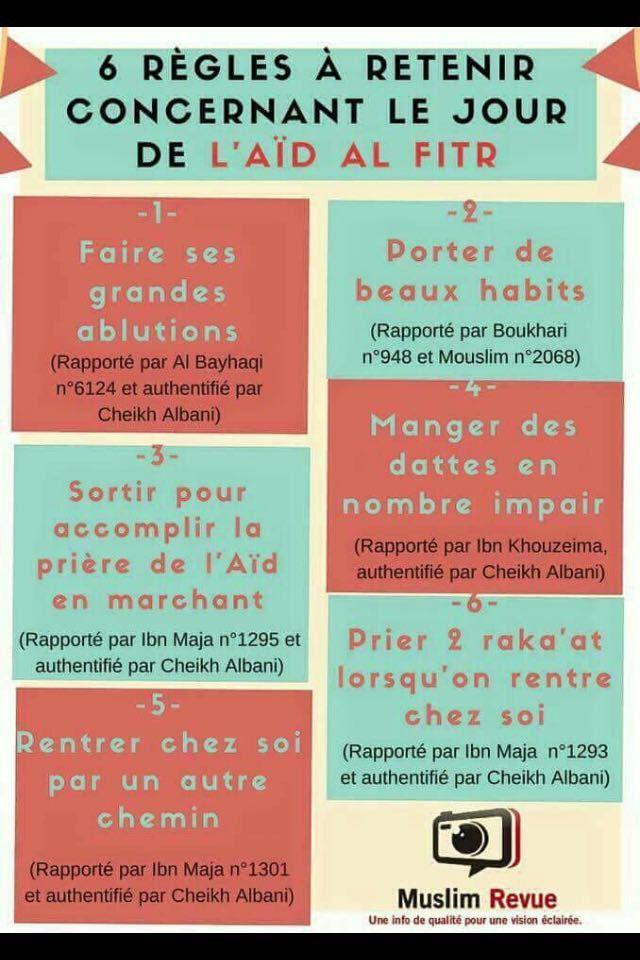 6 règles concernant le jour de l'Aïd Al Fitr