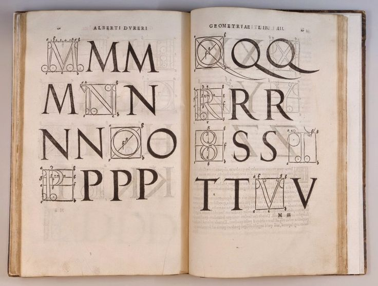 "Albrecht Durer, methods of constructing letterforms, from ""Institutionum Geometricarum"", 1534. Watson Library Special Collections"