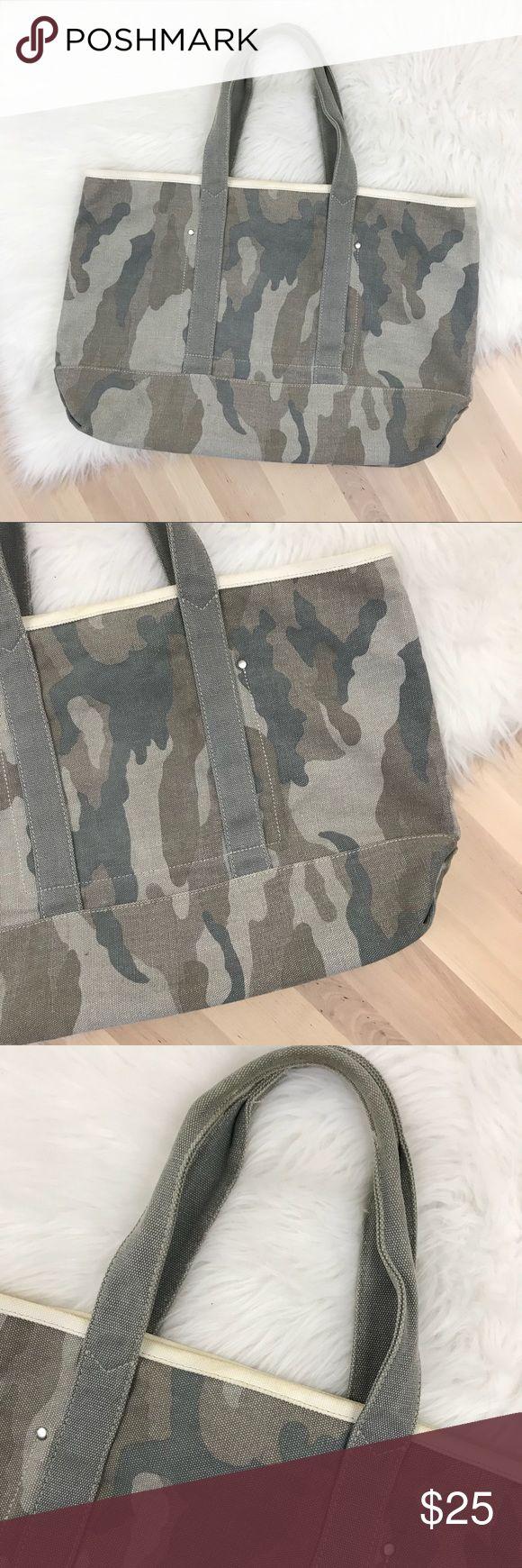 J. Crew Camo Print Canvas Tote Bag J. Crew camo print canvas tote bag with two interior pockets. Double handles.  No flaws! J. Crew Bags Totes