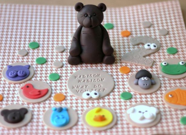 Fondant Cupcake Toppers - Over 30 Pieces of Brown Bear Fondant Topper Set - Cake and Cupcake Topper Set by Les Pop Sweets on Gourmly