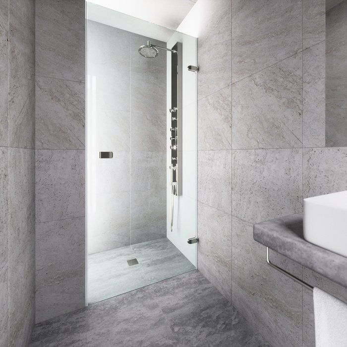 Tempo 24 X 70 Hinged Frameless Shower Door Bathroom Shower