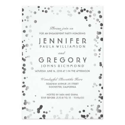 #engagement #party #invitations - #Silver and White Confetti Vintage Engagement Party Card