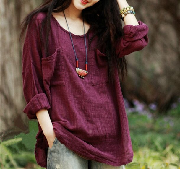 New 2017 Women's Clothing Vintage Long-Sleeved Linen Mexican Ethnic Fashion Shirt,Summer Casual Blouse Tops