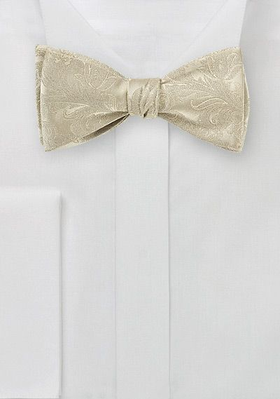 Paisley Silk Bow Tie in Golden Champagne