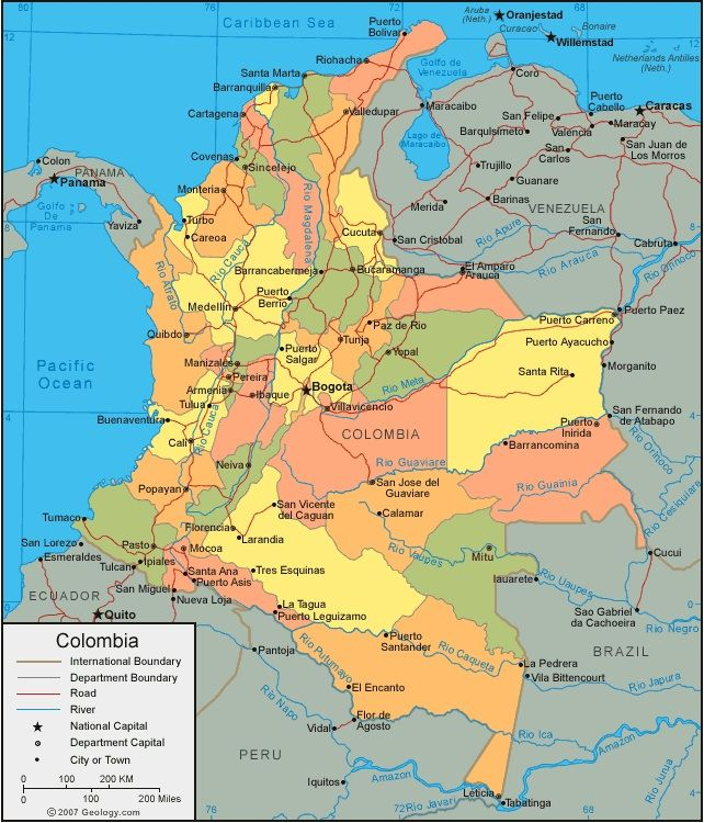 A political map of Colombia; including the major cities and it's capital Bogotá.