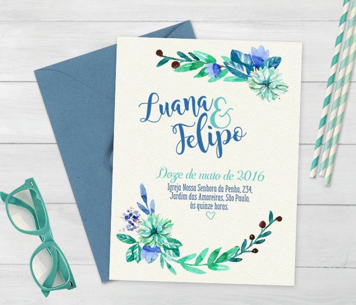 Convite floral de casamento #Casamento #Floral #Wedding