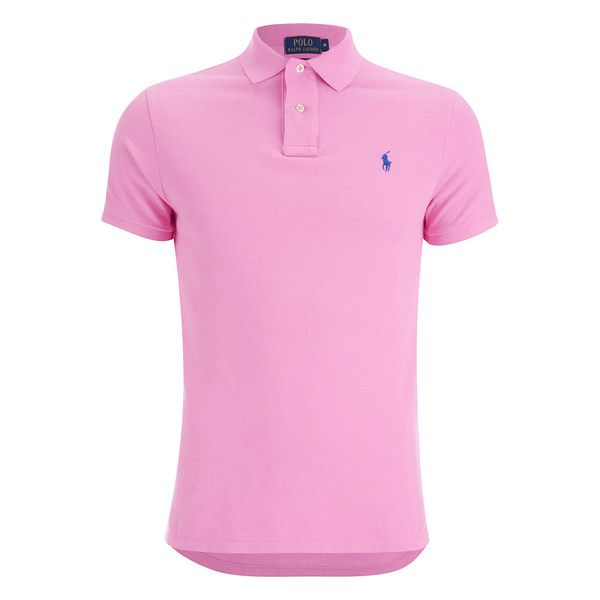 Polo Ralph Lauren Men's Custom Fit Polo Shirt - Heritage Pink ($97) ❤ liked on Polyvore featuring men's fashion, men's clothing, men's shirts, men's polos, pink, mens pink polo shirt, mens polo shirts and mens pink shirts