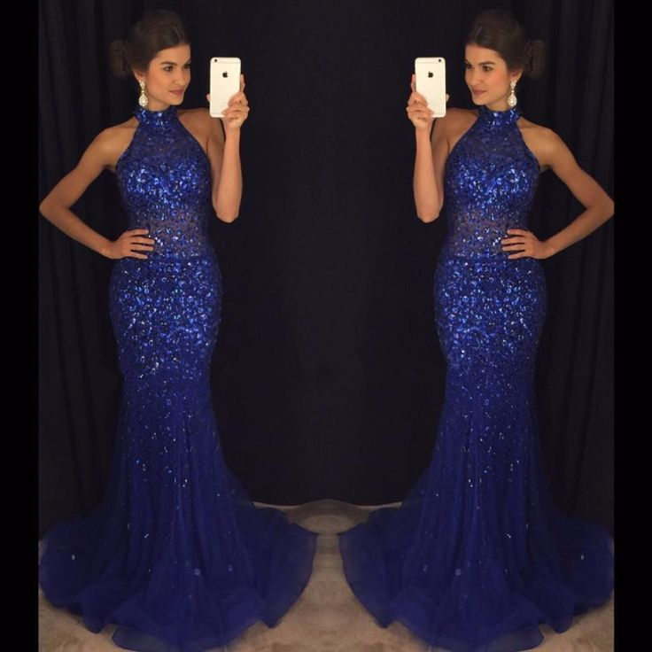 Royal Blue Robe De Soiree 2017 Mermaid Halter Sequins Sparkle Crystals Sexy Long Prom Dresses Prom Gown Evening Dresses