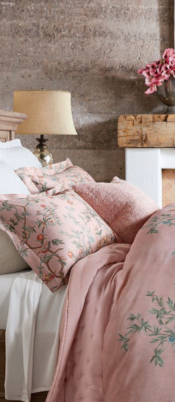 Love is in the air. Soften spaces with floral prints, muted hues and gorgeous fabrics | Artisinal Vintage Bedding