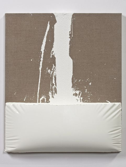 ANALIA SABAN Decant (White) #1 24 x 20 x 2.5 inches Encaustic paint on canvas