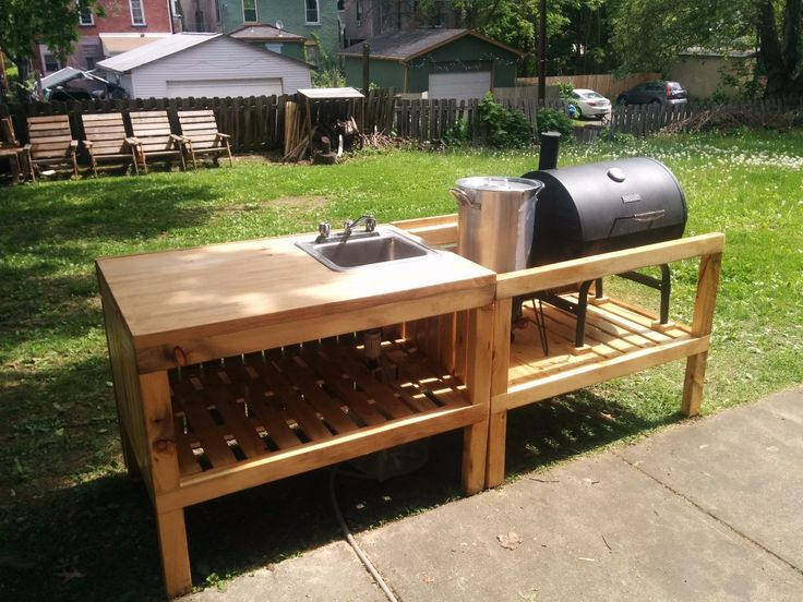 Backyard Kitchen Made From Reclaimed Materials. Diy Outdoor ...