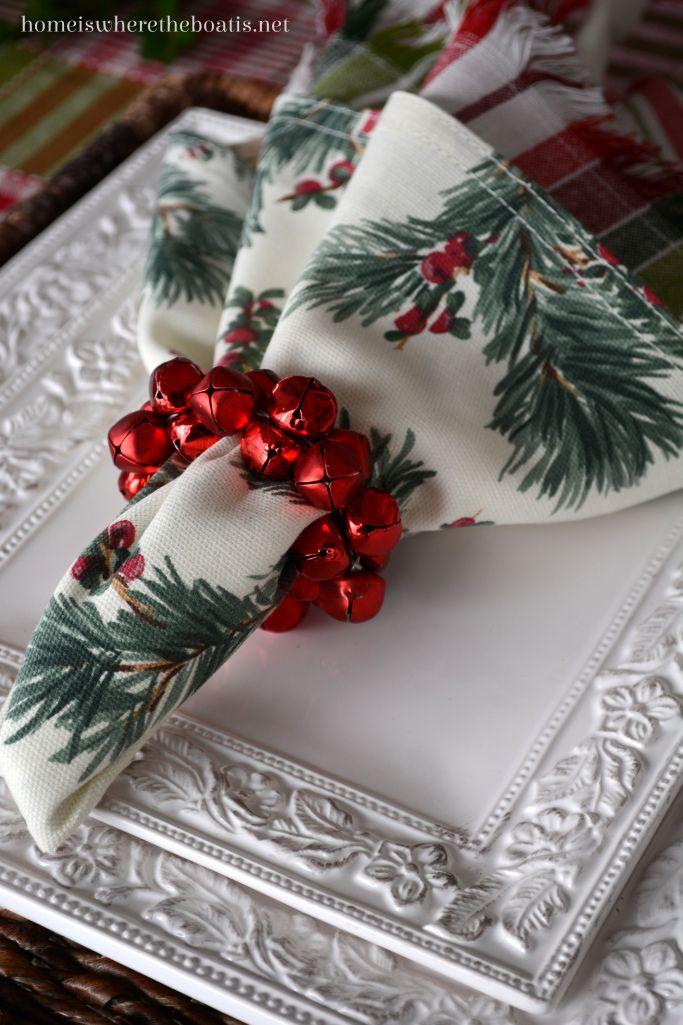 Jingle bells make nice napkin rings for your Christmas table.  |  Mary at Home Is Where the Boat Is
