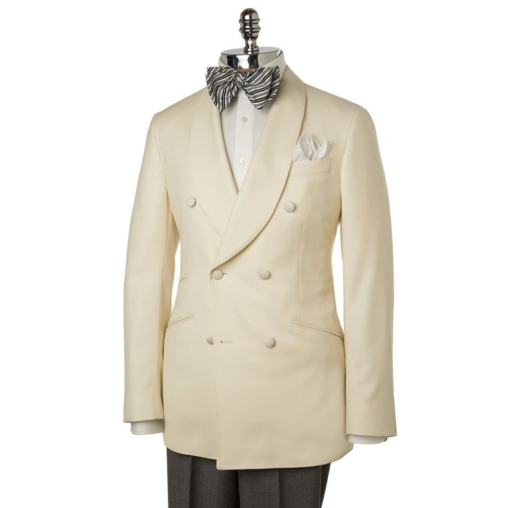 Oh My! Oh Yes! Cream Shawl Collared Wool Double Breasted Dinner Jacket. www.paulstuart.com