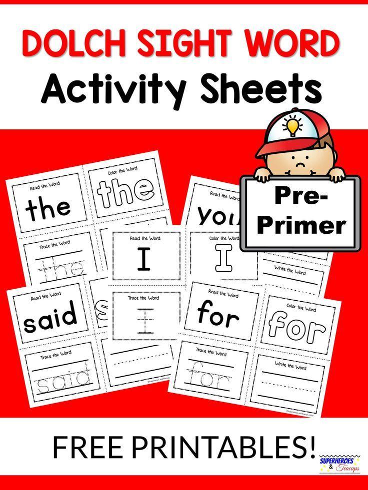 PrePrimer Dolch Sight Word Activity Sheets Preschool