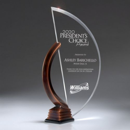 I love the finish on this piece. It turned out really nice!  CD751 — Floating Lucite Crescent in Bronze Resin Stand with Lasered Graphics : Pacesetter Awards -- Acrylic and Glass Awards, Plaques, Gifts...