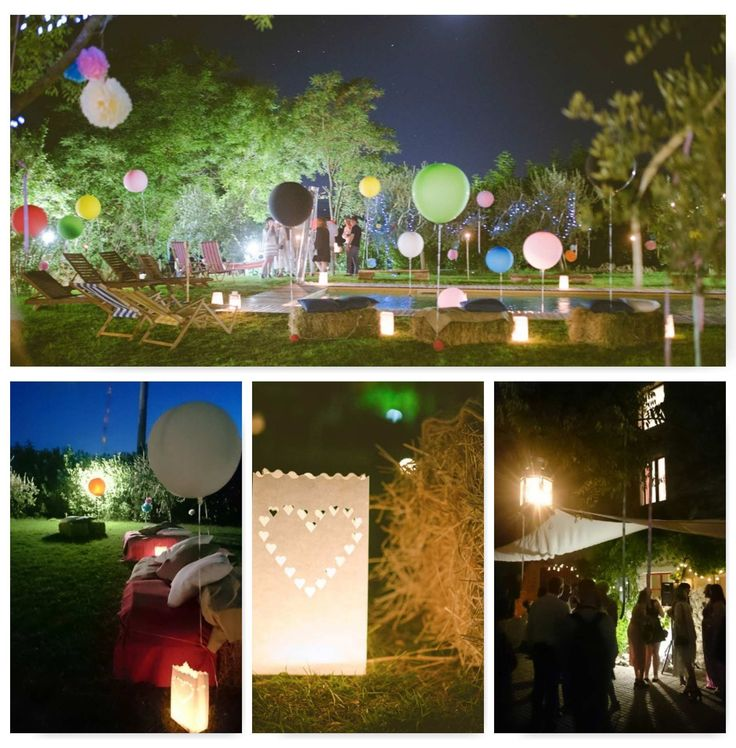 A cool arrangement for a wedding pool party of a young couple: big balloons, lanterns and hay bales to relax.