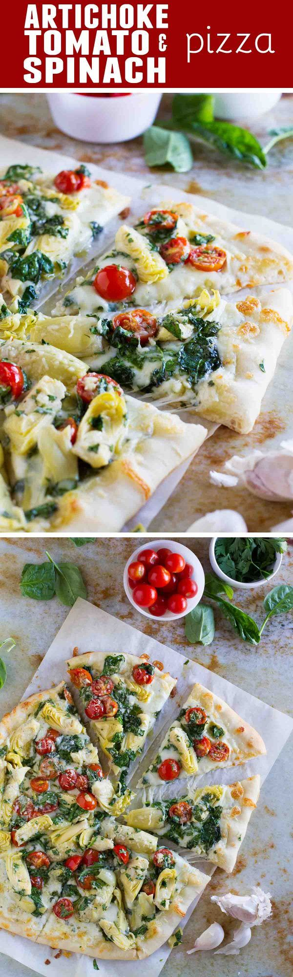 Artichoke lovers will fall in love with this Artichoke, Tomato and Spinach Pizza. It takes the classic spinach artichoke combination and turns it into an amazing pizza!