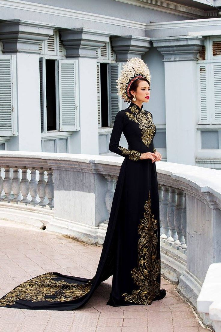 áo dài | Black and Gold Vietnamese Dress | Asian Queen