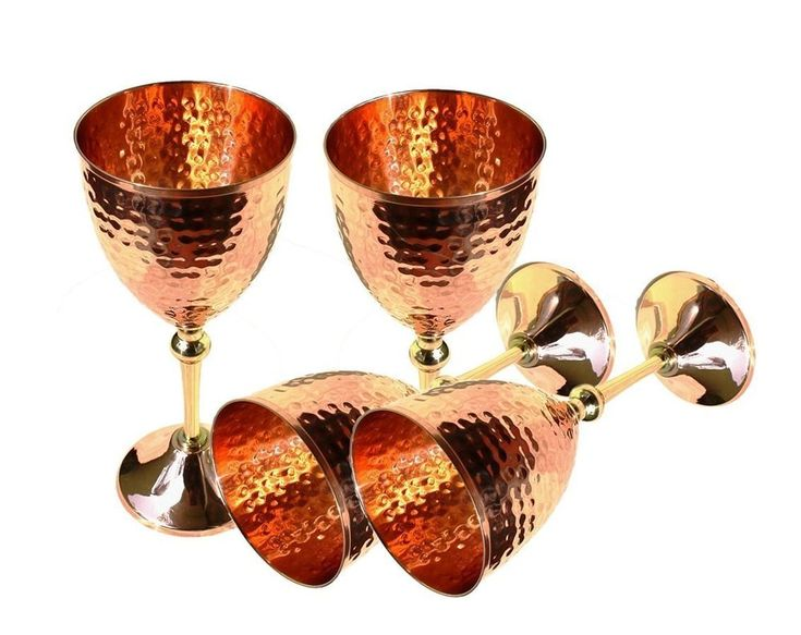 Set of 4 100% Authentic Hammered Copper Wine Goblet Hammered Copper Moscow Mule